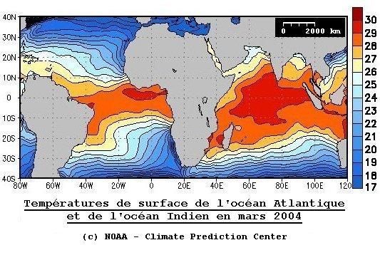 Températures de surface de l'océan en mars 2004