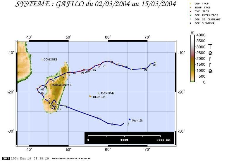 Trajectoire du cyclone Gafilo