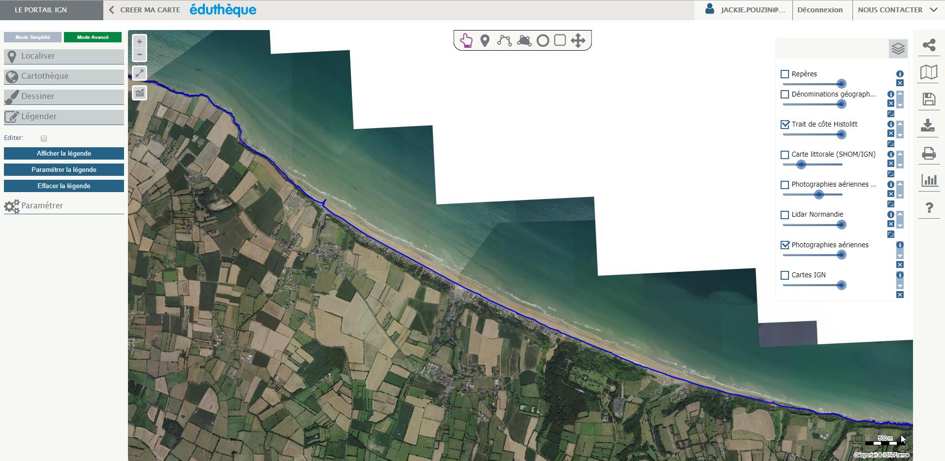 Capture d'écran d'une photographie aérienne