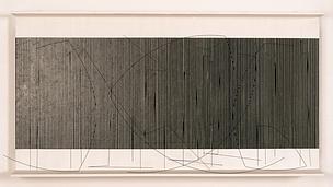 Jésus Rafael Soto Ciudad Bolivar (Venezuela), 1923 - Paris (France), 2005  Titre attribué : Emplacement du bleu Gorin 1971 Oeuvre en 3 dimensions, Installation avec de la lumière Relief optique Huile et encre de chine sur bois, tiges de métal et fils de