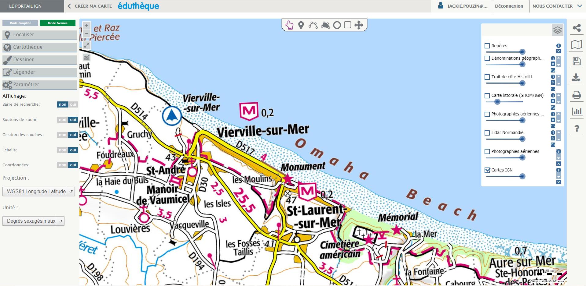 Capture d'écran d'une carte