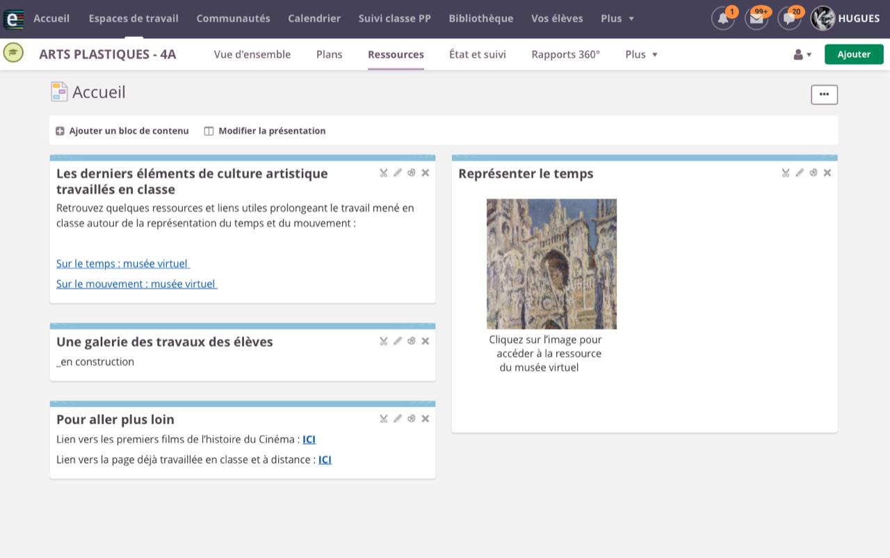 Accéder au musée virtuel (site public) depuis un lien sur l'ENT e-lyco