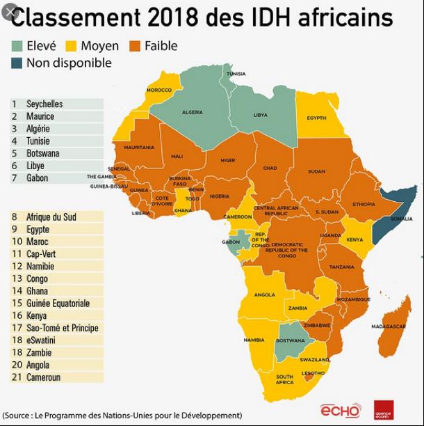 carte classement 2018 IDH Afrique