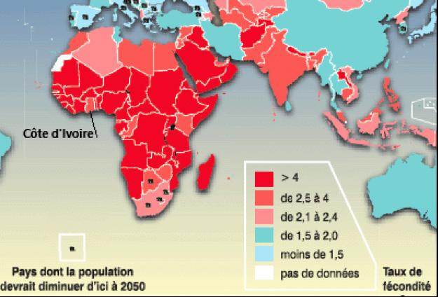 carte fécondité Asie Afrique