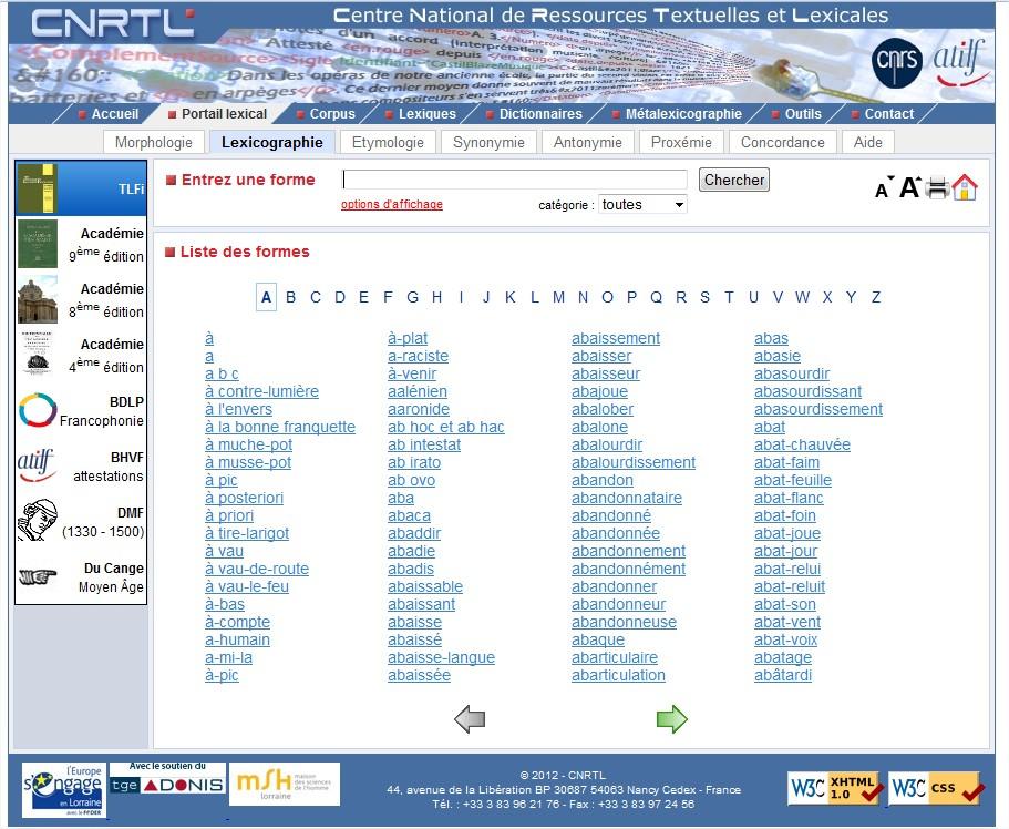 écran site cnrtl