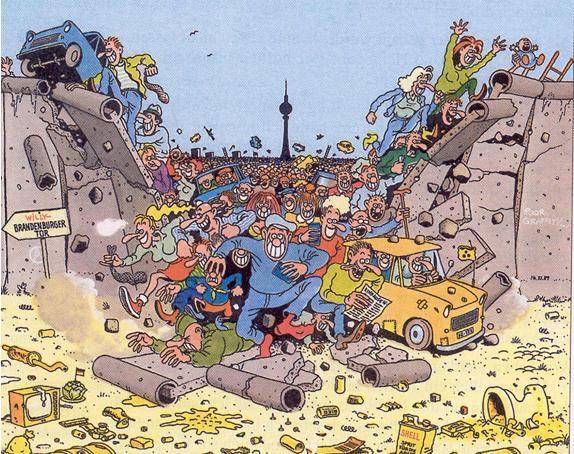 Caricature allemande sur la chute du mur