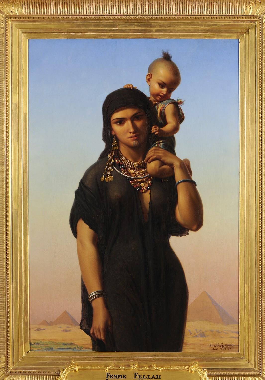 Émile Lecomte-Vernet, Femme fellah portant son enfant, 1864