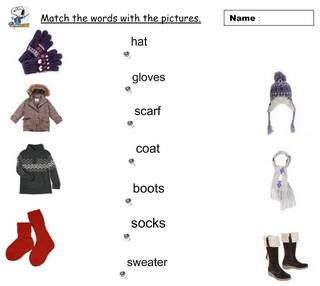 copie d'écran Match the words with the pictures