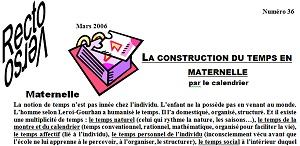 n°36 : la construction du temps en maternelle par le calendrier