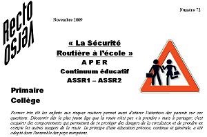recto-verso n°72 : la sécurité routière à l'école
