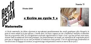 recto-verso n°75 : Ecrire au cycle 1 (format .pdf - 250 ko)