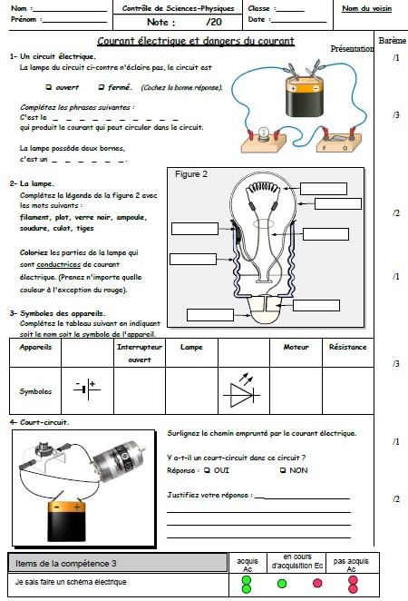 controle physique chimie 5eme