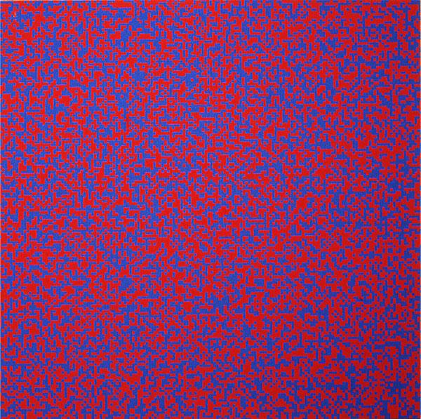 François MORELLET, Distribution aléatoire de 40 000 carrés à l'aide des nombres impairs et pairs d'un répertoire téléphonique, 1960
