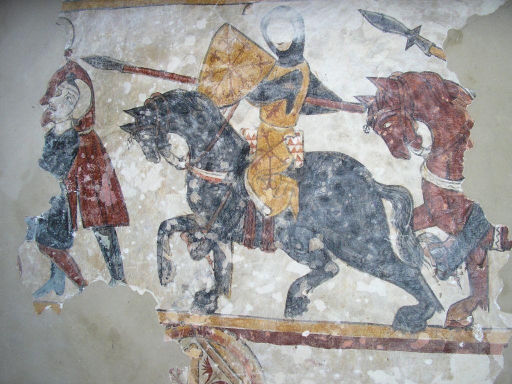 Chevalier et paysan, fresques de Neau