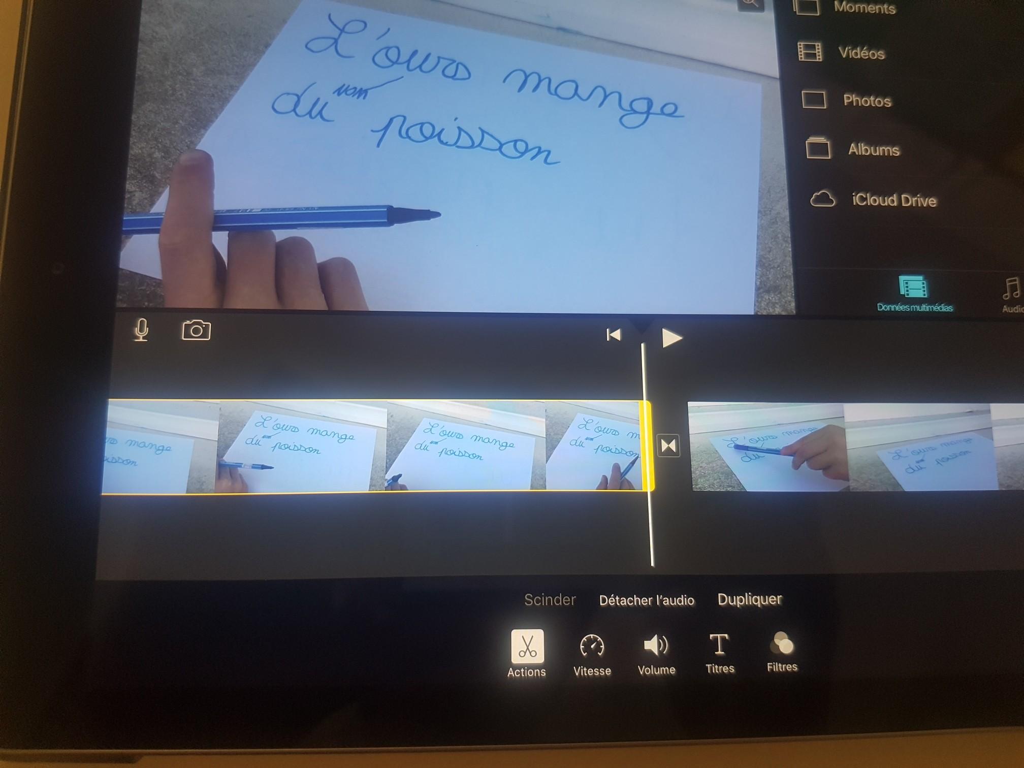 Montage vidéo d'une leçon sur tablette