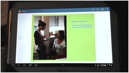 phase de diagnostic client avec tablette