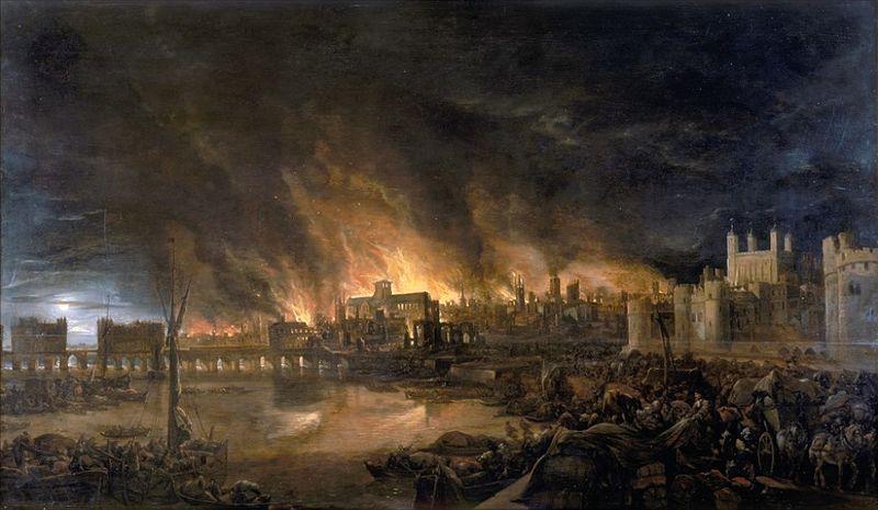 Peinture artiste inconnu incendie de Londres