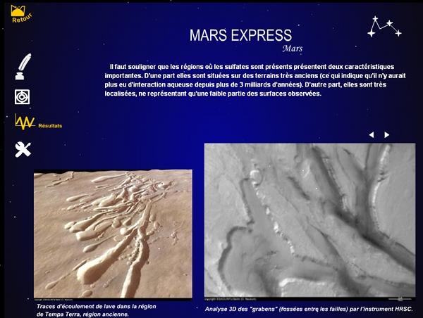 """Description des """"résultats"""" obtenus par la sonde Mars express"""