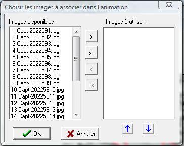 Sélection des images à utiliser pour l'animation