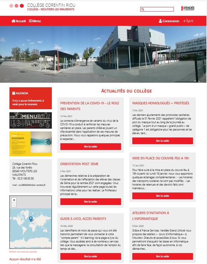 Page accueil du collège Corentin Riou