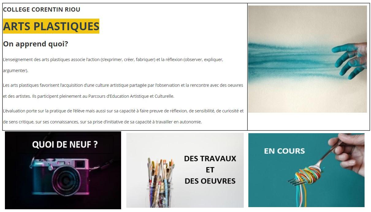 Page d'accueil de l'espace arts plastiques du collège corentin Riou
