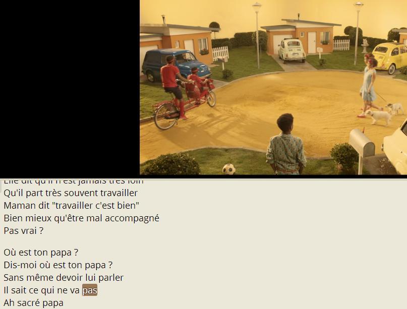 """synchronisation du sous-titrage sur la timeline de la vidéo (ici, """"Papaoutai"""" de Stromae)."""