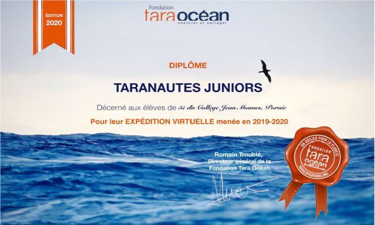 Le diplôme de Taranautes juniors sera donc remis virtuellement aux élèves.