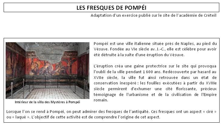 Exercice Fresques de Pompeï
