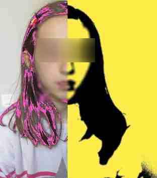 Portrait réalisé par les élèves avec différents filtres - exemple 4