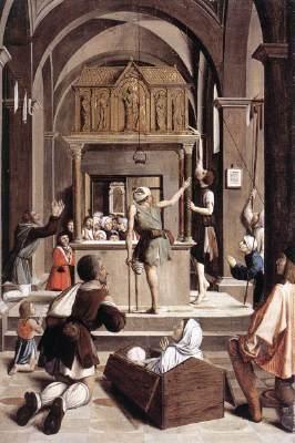 Josse Lieferinxe, Les pèlerins sur la tombe de Saint Sébastien