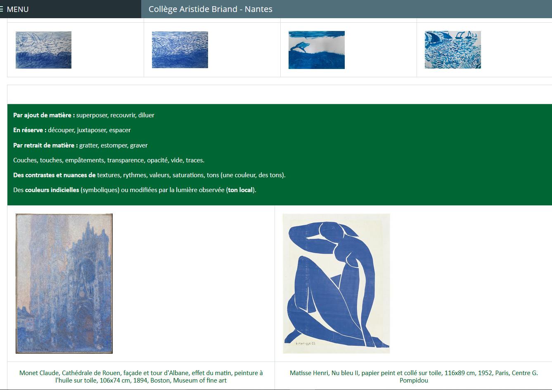 la page du blog de la classe sur e-lyco